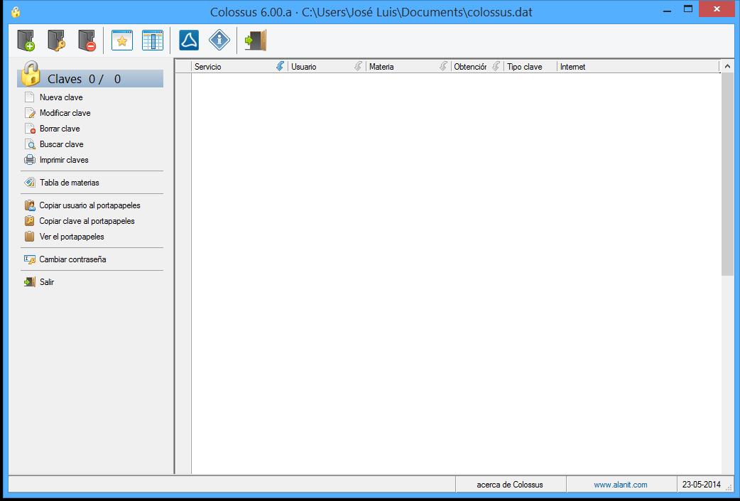 Colossus 6.0 - ventana de fichero de claves