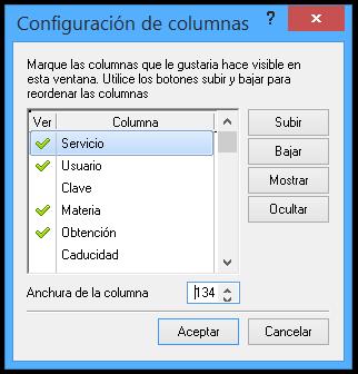 Colossus 6.0 - Configuración de la rejilla de claves.